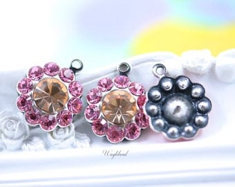 Light Rose &  Light Peach Swarovski Rhinestone Flower Drops 13mm - 2