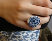 Hand painted  Blue and white Delft style Porcelain Cocktail Ring