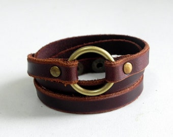 Leather Wrap Bracelet Leather Cuff with Bronze Tone Metal O Ring Snap Button Clasp in brown