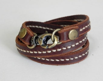 Leather Bracelet Wrap Leather Bracelet with Metal Alloy Clasp Brass Tone Hand Stitched  in Brown color