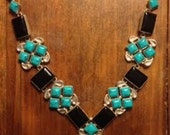 Large Sterling Silver Onyx and Turquoise Stone Chunky Necklace