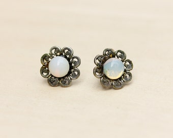 Silver Filigree Flower Opalescent Studs