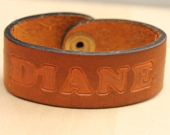 Sample Sale - Leather Name Bracelet - Diane