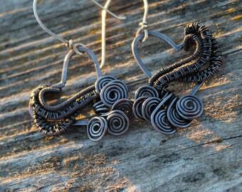 Copper Earrings Wire Wrapped Heart, Item #400103