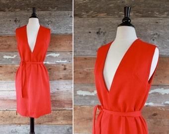 1960s dress / deep v dress / vintage red dress / size m