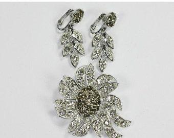 CIJ Sale Celebrity Rhinestone Brooch Earrings Demi Parure Set Smoky Grey Clear Stones