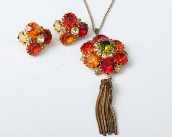 Orange Red Topaz Rhinestone Pendant Necklace Clip Earring Tassel Necklace Vintage