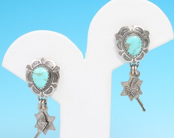 Southwestern Turquoise Earrings Sterling Silver Dangles Signed QT