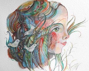 Original art illustration  Child of nature   OOAK by miliaart studio