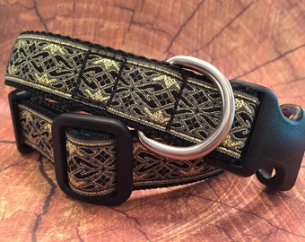 Black and Metallic Gold Dog Collar - In M, L, XL, Side Release Buckle Style