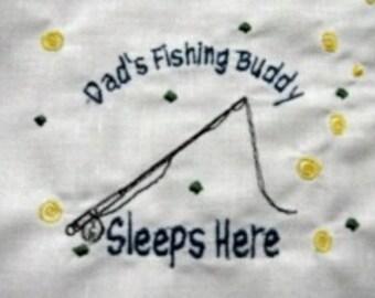 Fishing Rod-Fishing Buddy-Custom Embroidered Pillowcase-FREE Personalizing