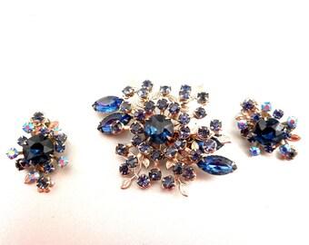 Blue Rhinestone Pin/Earrings Set