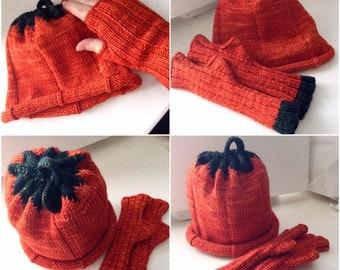 Adult Pumpkin Hat & Matching Mitts, Custom Halloween Photo Prop, Merino Wool, You Choose Size, Hand Knit