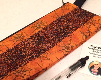 Knitting Project Bag Notions Zipper Pouch Halloween Orange & Black Spider Webs Smaller Size