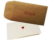 XOXO Envelope with Love Note Heart Card - pack of 4