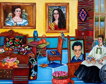 Frida Kahlo print, Mexican Art Frida Kahlo, Frida Kahlo, Mexican Folk Art, Frida's Place
