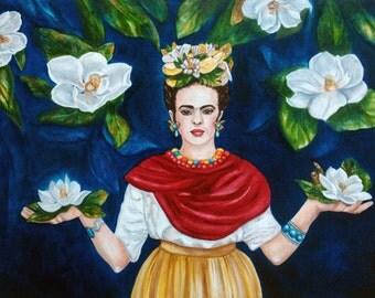 Frida Kahlo Print, Frida Kahlo Art, Mexican Folk Art, Original Art, Frida's Magnolia's