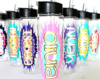 5-9 Personalized Water Bottles, Kids Water Bottles, Birthday Party Favors, Customizable Gift for Girls or Boys, Group Discount