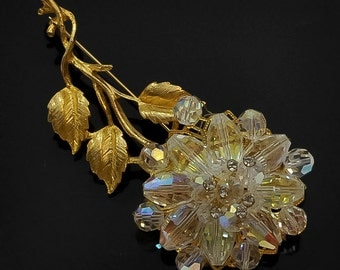 1950s Oversized Aurora Borealis Austrian Crystal Gold Tone Flower Floral Vintage Brooch Pin
