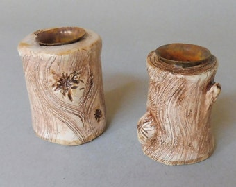 White Log Candle Stick Set