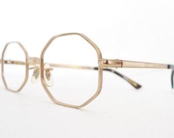 Gold Hippie Eyeglass Frame NEver Used Octagonal Mod Glasses 1/10 12K GF Sunglasses NOS Hippy Renegade CHic