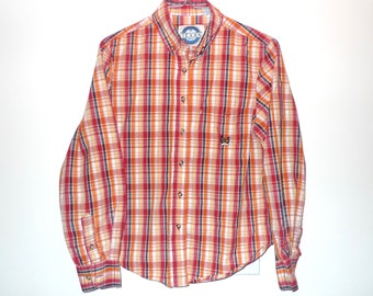 80s Western Plaid Shirt X-SMALL Orange Red Yellow Blue Oxford ButtonDown Rockabilly Country Crooner Folk Artist Blues Harajuku Warm Colors