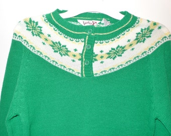 "20% Off Fun Green Acrylic NonWool Fair Isle Sweater 70s Nordic Winter Pullover Jumper Ski Sports Harajuku Prep School Uniform Chic 34"" Chest"