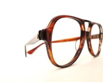 Big NOS Titmus Z87 Aviator Frame Faux Tortoise Brown Eyeglass Sunglass Hip Hop Sunnies 70s 80s Pilot Driver Shooters Designer Disco Nerd