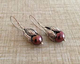 Chocolate Freshwater Pearl and Sterling Silver Fuchsia Cup Earrings