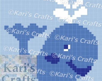Blue Whale C2C Corner to Corner Afghan Blanket PDF Pattern Graph + Written Instructions - Instant Download
