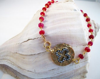 Dyed ruby 4mm rosary chain bracelet with gold over sterling silver (vermeil) disc connector with pave CZ cross with gold-filled clasp