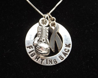 Fighting Back Awareness necklace, Gray Awareness Ribbon necklace, Brain cancer awareness, Brain Tumor Awareness, Grey awareness ribbon
