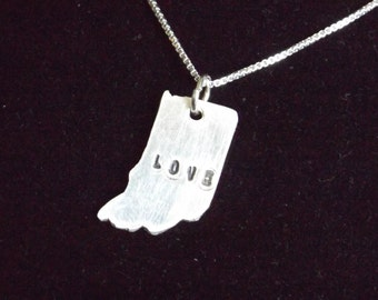 Indiana State necklace, State of Indiana necklace, Love Indiana necklace, Love being a Hoosier, Hoosier state, Indiana charm, IN charm