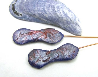 Habitus -  Flat Peanut Shape Polymer Clay Silvery Purple Plum and Rust Textured Lightweight Headpins with Copper Wires Numi- Poly Pair (2)