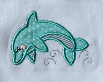 Baby onesie, baby bodysuit, toddler t-shirt, embroidered, dolphin