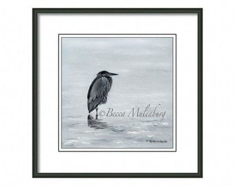 Great Blue Heron PRINT bird art nature wildlife