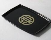 Vintage Black Shou Chinese Symbol Tray / Chinoiserie / Asian
