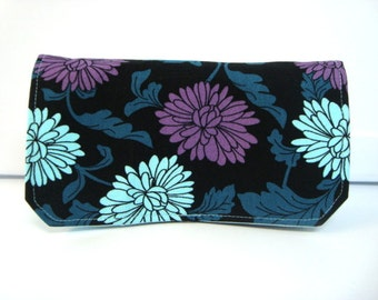Coupon Organizer /Budget Organizer Holder  / Attaches To You Shopping Cart -  Hanna Black with Aqua and Purple Mums