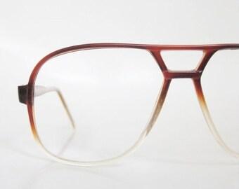 POP SALE Vintage 1970s Aviator Eyeglasses Mens Sunglasses 70s Amber Fade Clear Glasses Guys Homme Deadstock Optical Frames Oversized Seventi