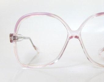 SALE 1970s Purple Eyeglasses Vintage Womens Oversized Glasses Clear Pastel Light Lavender 70s Eighties Geek Chic Nerdy Indie Hipster Clear