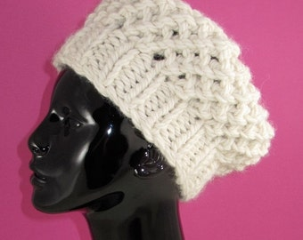 HALF PRICE SALE Instant Digital File pdf download knitting pattern - Super Chunky Simple Lace tam Beret Hat pdf download knitting pattern