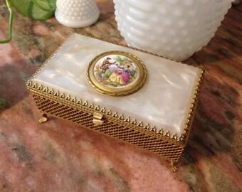 Vintage Music Box Jewelry Gold Filigree Mother Of Pearl 1960s Victorian Fragonaro Porcelain Center Scene