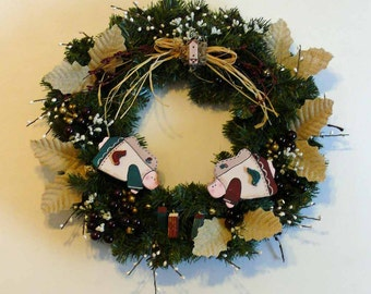 Burlap and Angels Pine Wreath