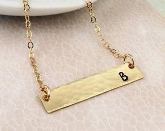 Personalized Gold Bar Necklace, initial bar hammered finish gold fill, layering, minimal jewelry