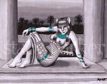 Marker drawing Print  Egyptian Goddess Bast