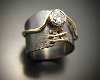 Moissanite Engagement Ring Sterling Silver Gold Ring Alternative Wedding Ring Handmade Wild Prairie Silver Jewelry