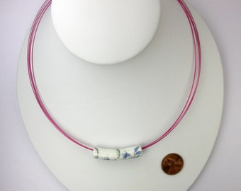 Ceramic Bead on Pink Wire