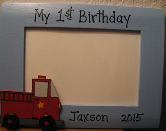 Fire truck birthday frame boy My first birthday personalized custom picture photo frame
