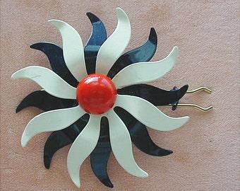 Vintage Red White Blue Metal Flower Barrette