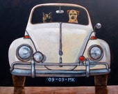 176 VW Beetle front - folded art card 15x15cm/6x6inch with envelope